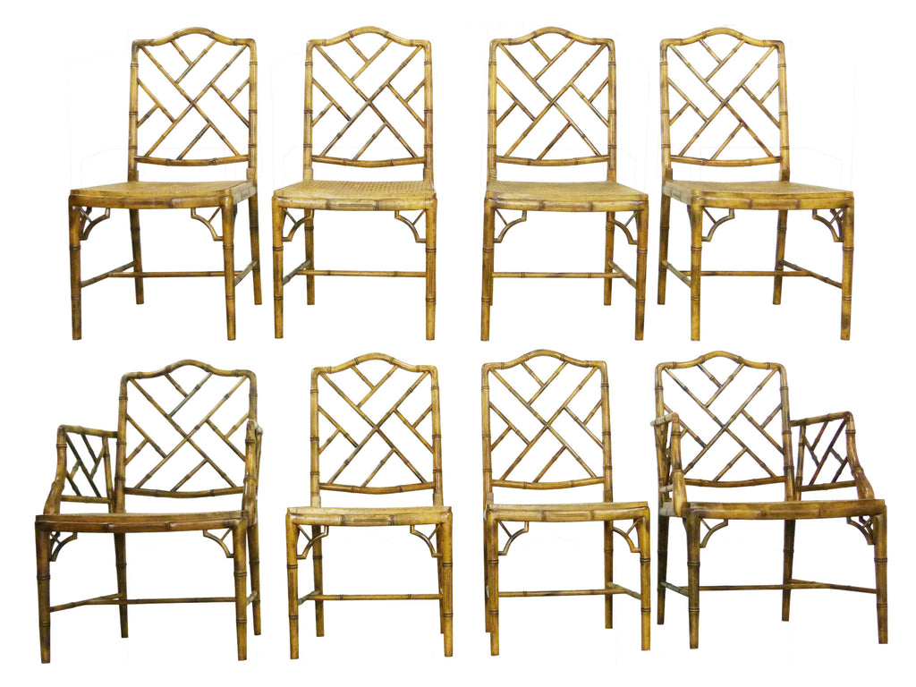 Faux Bamboo Chinese Chippendale Style Dining Chairs Oneandhome