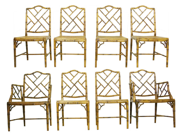 Faux Bamboo Vintage Chinese Chippendale Cane Dining Chairs 1
