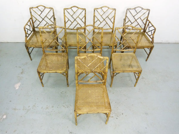 Faux Bamboo Vintage Chinese Chippendale Cane Dining Chairs 2