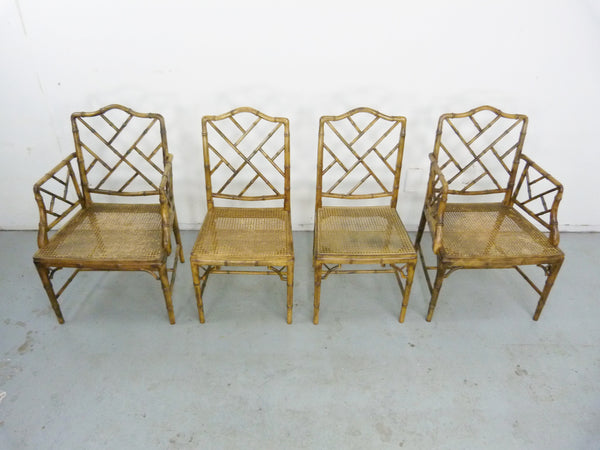 Faux Bamboo Vintage Chinese Chippendale Cane Dining Chairs 3