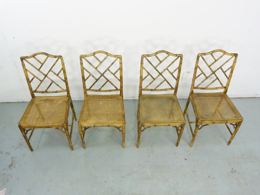 Faux bamboo vintage chinese chippendale cane dining chairs 4