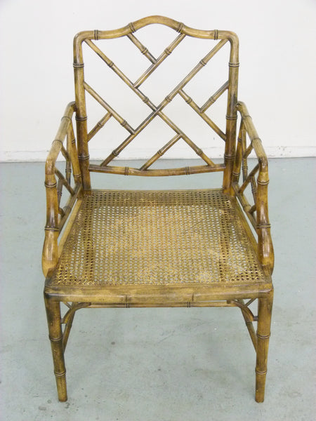 Faux Bamboo Vintage Chinese Chippendale Cane Dining Chairs 5