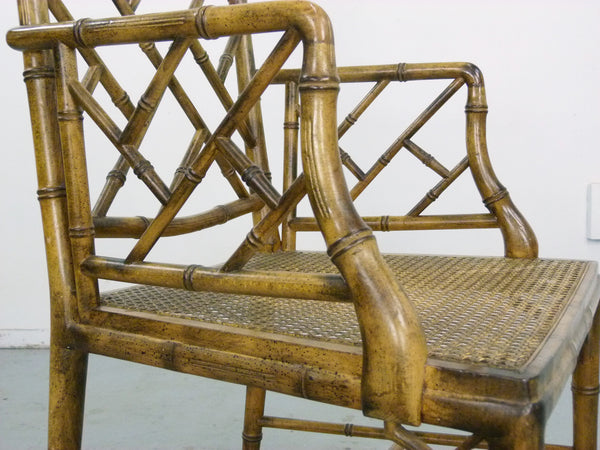 Faux Bamboo Vintage Chinese Chippendale Cane Dining Chairs 8