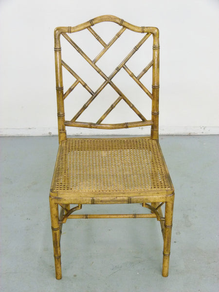 Faux Bamboo Vintage Chinese Chippendale Cane Dining Chairs 9