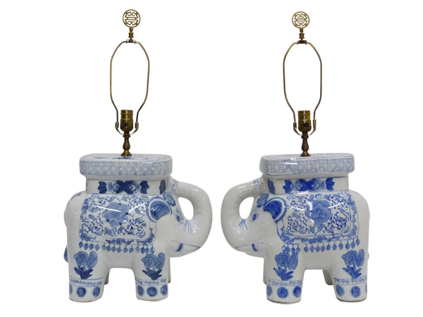 Blue & White Chinese Elephant Plant Stand Vintage Table Lamps 1