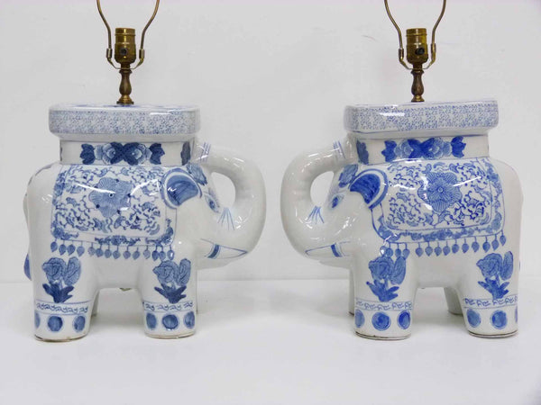 Blue & White Chinese Elephant Plant Stand Vintage Table Lamps 2
