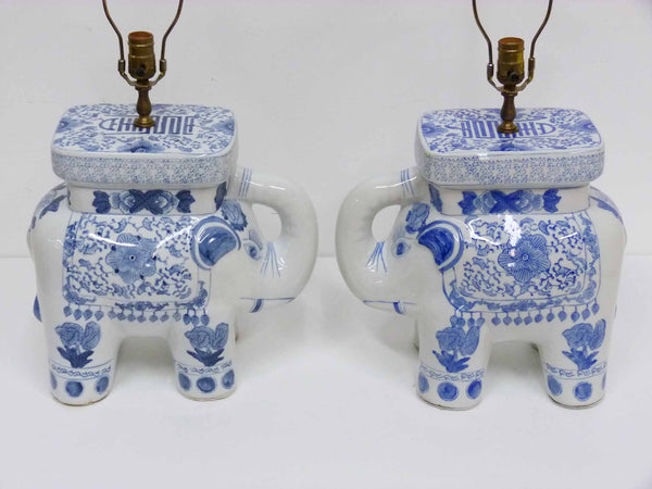 Blue & White Chinese Elephant Plant Stand Vintage Table Lamps 3