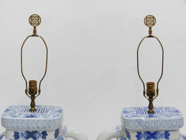 Blue & White Chinese Elephant Plant Stand Vintage Table Lamps 4