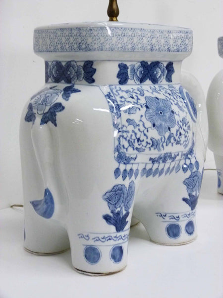 Blue & White Chinese Elephant Plant Stand Vintage Table Lamps 6