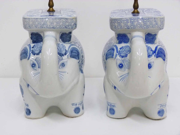 Blue & White Chinese Elephant Plant Stand Vintage Table Lamps 8
