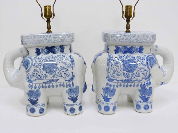 Blue & White Chinese Elephant Plant Stand Vintage Table Lamps 9