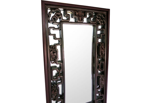 Chinese Carved Antique Fretwork Mirror