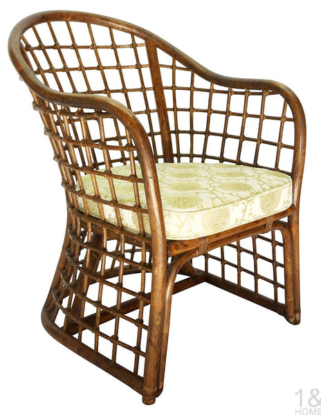 Chinoiserie Vintage Fretwork Bamboo Chair Img 1