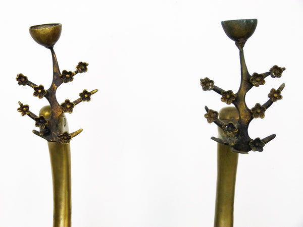 Chinese Brass Floor Cranes, Pair