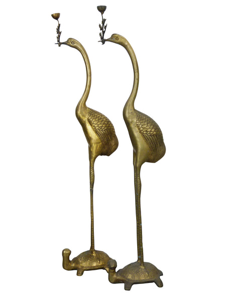 Vintage Floor Chinese Crane on Turtle Candle Holders in Cast Brass 1