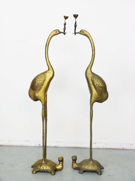 Vintage Floor Chinese Crane on Turtle Candle Holders in Cast Brass 2