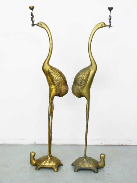 Vintage Floor Chinese Crane on Turtle Candle Holders in Cast Brass 3