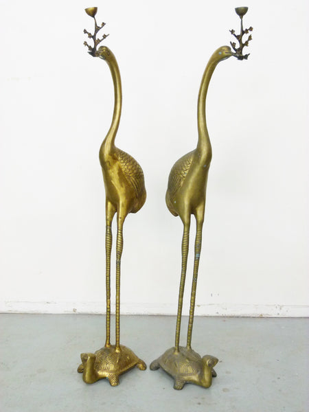 Vintage Floor Chinese Crane on Turtle Candle Holders in Cast Brass 4