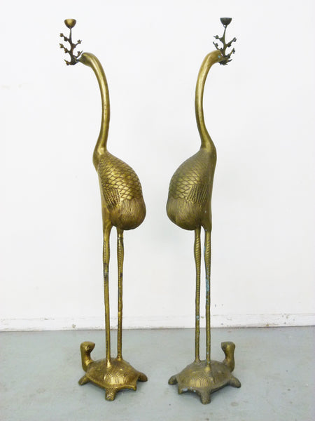 Vintage Floor Chinese Crane on Turtle Candle Holders in Cast Brass 5