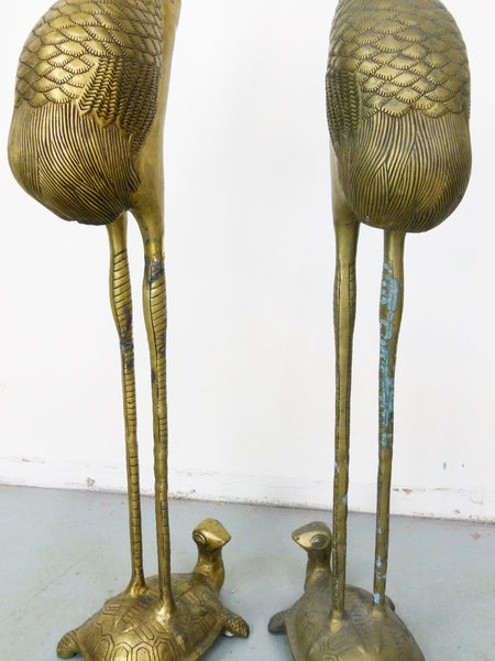 Vintage Floor Chinese Crane on Tortoise Candle Holders in Cast Brass 7
