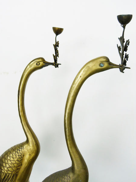 Vintage Floor Chinese Crane on Tortoise Candle Holders in Cast Brass 9
