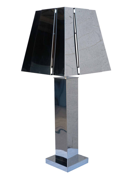 Curtis C Jere Chrome Mirror Table Lamp 1977 1