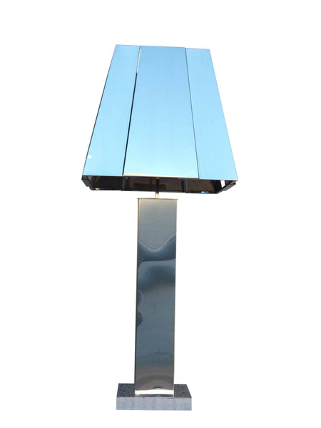 Curtis C Jere Chrome Mirror Table Lamp 1977 3