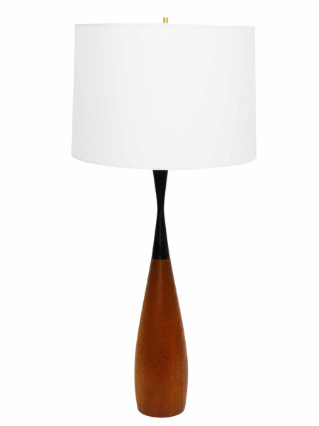 Danish Modern sculptural teak table lamp black hourglass neck 1