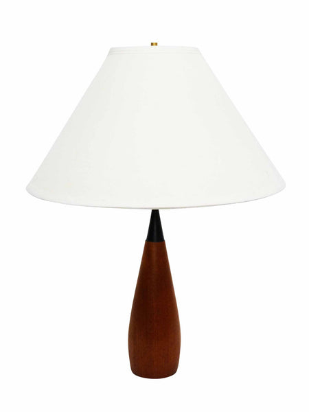 Danish Modern sculptural teak table lamp 1960s black hourglass neck 1