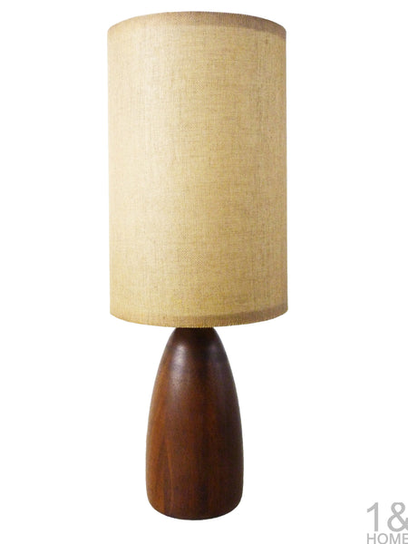 Small Turned Teak Wood Table Lamp