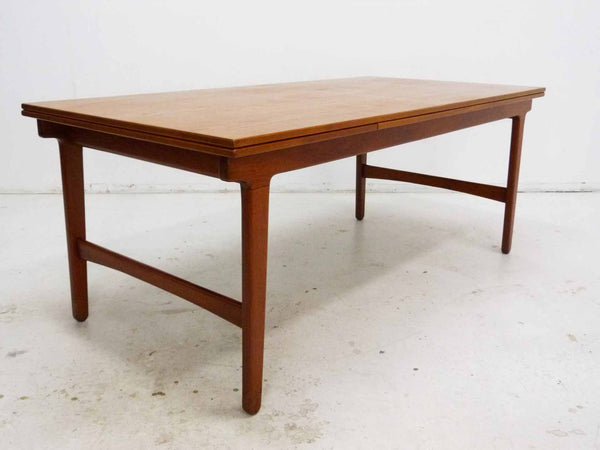 Danish Modern Teak Expandable Draw Leaf Extension Dining Table 4