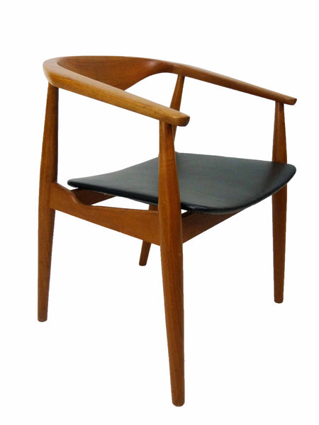 Danish Modern Teak Round Teak Barrel Side Chair 1