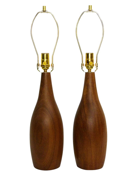 Danish Modern mid-century teak table lamps pair 2