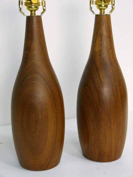 Danish Modern mid-century teak table lamps pair 3