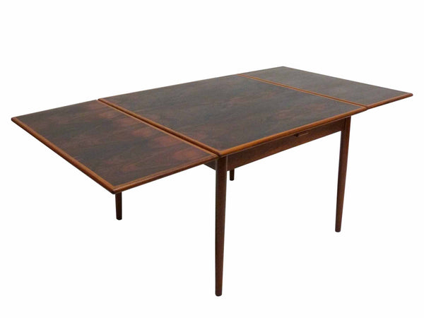 Danish Modern square rosewood draw leaf dining table 1