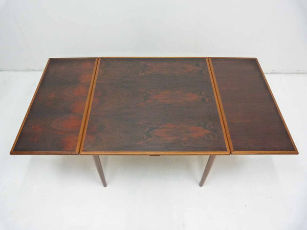 Danish Modern square rosewood draw leaf dining table 3