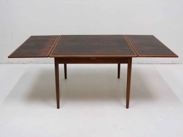 Danish Modern square rosewood draw leaf dining table 4