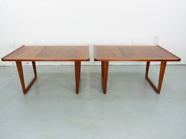 Danish Modern solid teak side end tables Img 4
