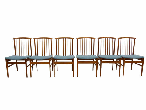 Dux Sylve Stenquist Teak High Dowel Back Danish Modern Sweden Dining Chair Set 1