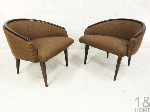 Mid-Century Modern Barrel Lounge Chairs