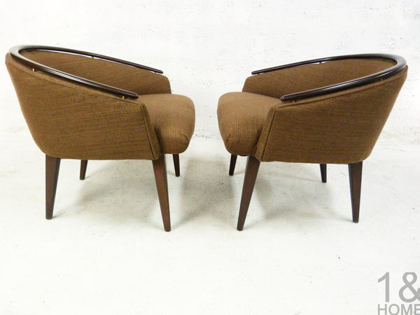 Pair of Mid-Century Modern Barrel Lounge Chairs Edward Wormley 2