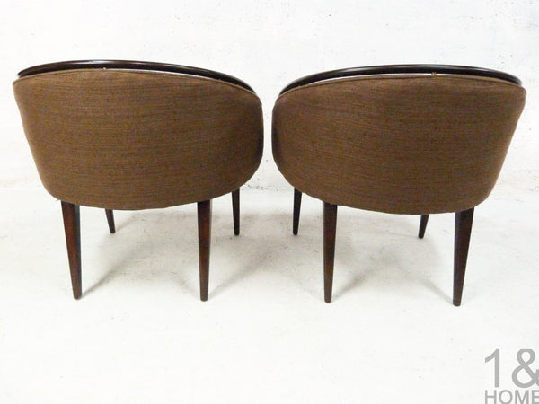 Pair of Mid-Century Modern Barrel Lounge Chairs Edward Wormley 3