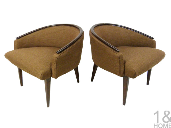 Pair of Mid-Century Modern Barrel Lounge Chairs Edward Wormley 1