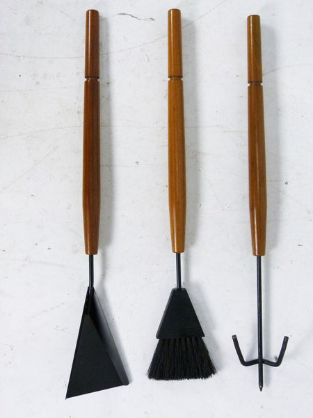 Modern Mid-Century Walnut Fireplace Tool Set 6