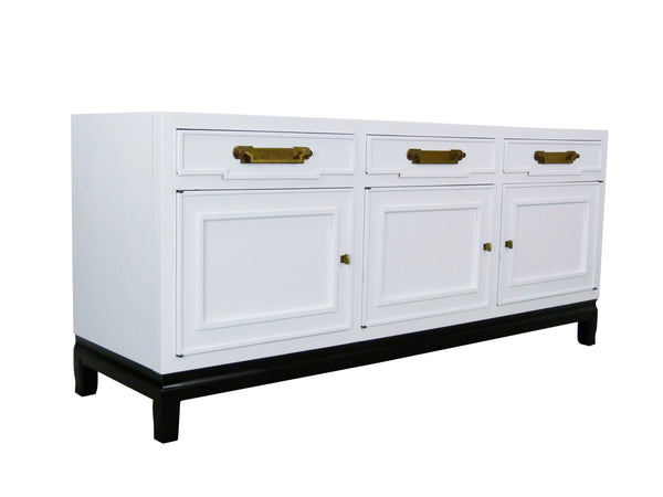 Fancher Vintage White Enamel black lacquer Chinoiserie Sideboard Img 2