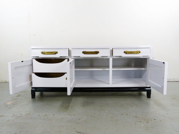 Fancher Vintage White Enamel black lacquer Chinoiserie Sideboard Img 4
