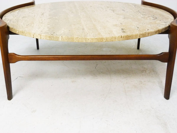 Sculptural Walnut and Travertine Coffee Table