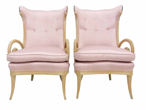 Grosfeld House Hollywood Regency Scroll Arm Wing Back Lounge Chairs 1