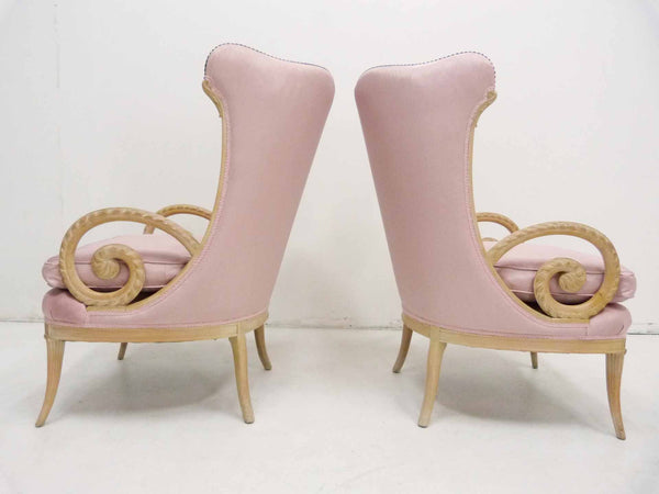 Grosfeld House Hollywood Regency Scroll Arm Wing Back Lounge Chairs 6