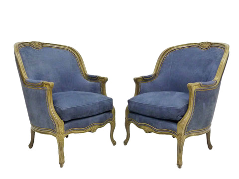 Hancock and Moore Blue Leather Balfour Bergere Occasional Chair French Parlor 1